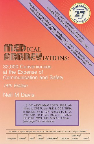 Medical Abbreviations 32,000 Conveniences at the Expense of Communication and Safety 15th 2011 edition cover