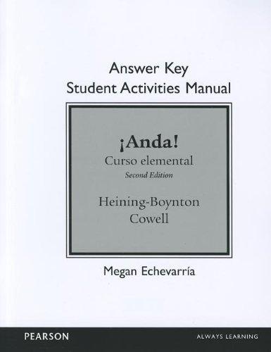 SAM Answer Key for iAnda! Curso Elemental  2nd 2013 (Revised) edition cover