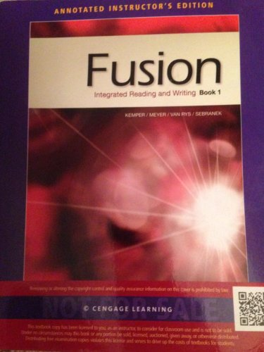 FUSION,BOOK 1 >ANNOT.INSTRS.ED< N/A 9781133312161 Front Cover