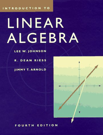 Introduction to Linear Algebra  4th 1998 9780201824162 Front Cover