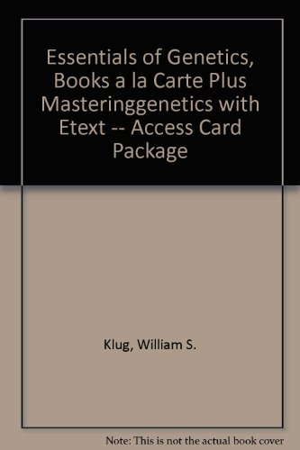 Essentials of Genetics, Books a la Carte Plus MasteringGenetics with EText -- Access Card Package  8th 2013 edition cover