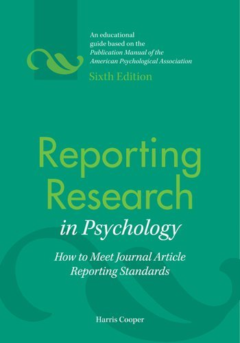 Reporting Research in Psychology How to Meet Journal Article Reporting Standards 6th 2011 edition cover