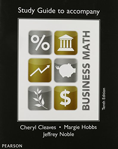 Study Guide for Business Math  10th 2014 edition cover