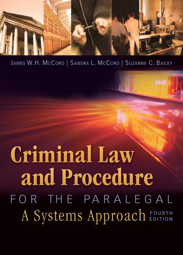 Criminal Law and Procedure for the Paralegal  4th 2012 edition cover