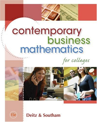 Contemporary Business Mathematics for Colleges (with CD-ROM)  15th edition cover