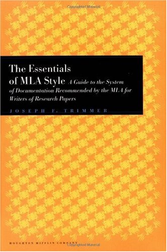 Essentials of MLA Style A Guide to Documentation for Writers of Research Papers  1998 edition cover