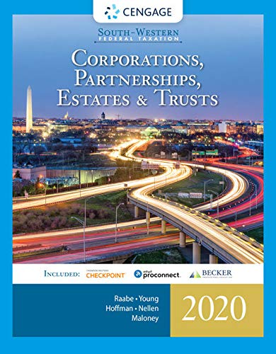 South-western Federal Taxation 2020 + Intuit Proconnect Tax Online 2020 and Ria Checkpoint 1 Term, 6 Months Printed Access Card: Corporations, Partnerships, Estates and Trusts  2019 9780357109168 Front Cover