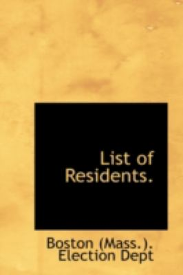 List of Residents  N/A 9781113206169 Front Cover