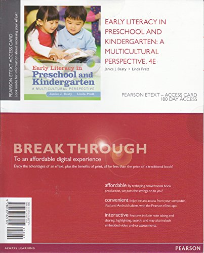 Early Literacy in Preschool and Kindergarten: A Multicultural Perspective, Pearson eText -- Access Card  2015 edition cover