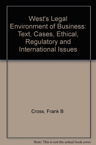 Legal Environment of Business Text and Cases 2nd 1995 9780314045171 Front Cover