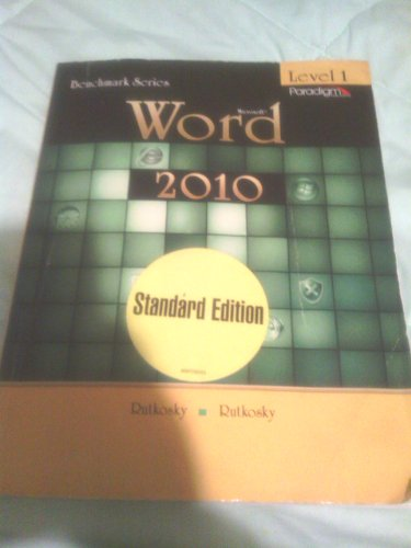 Microsoft Word 2010 Level 1-Text  2011 9780763838171 Front Cover