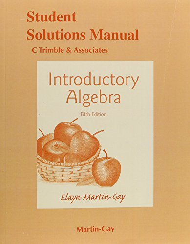 Student's Solutions Manual for Introductory Algebra  5th 2016 9780133865172 Front Cover