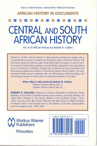 African History in Documents - Text and Readings Central and South Africa N/A edition cover