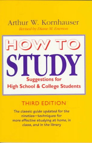How to Study Suggestions for High-School and College Students 3rd 1993 edition cover