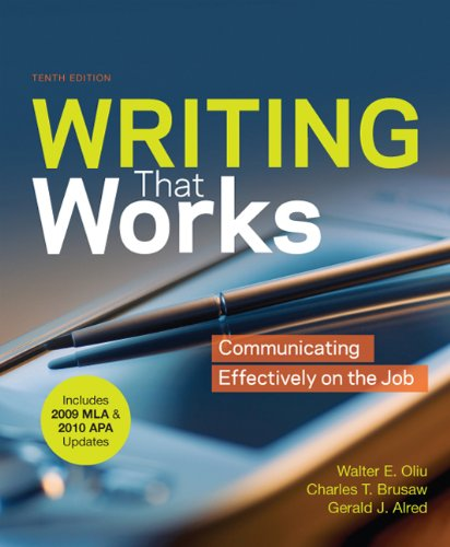 Writing That Works with 2009 MLA and 2010 APA Updates Communicating Effectively on the Job 10th edition cover