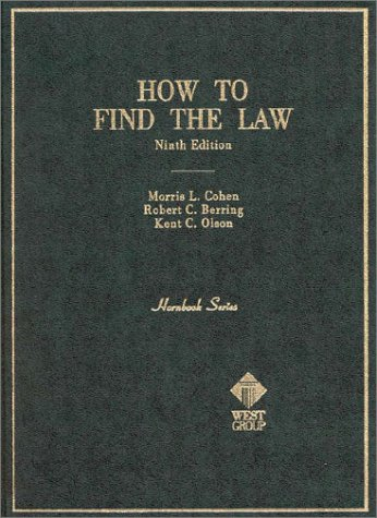 Hornbook on How to Find the Law  9th 1989 (Revised) edition cover