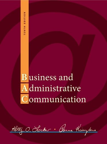Business and Administrative Communication  10th 2013 edition cover
