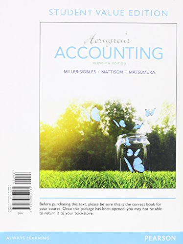 Horngren's Accounting, Student Value Edition  11th 2016 edition cover