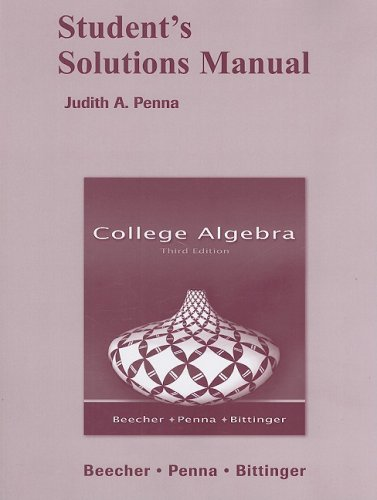 Student's Solutions Manual for College Algebra  3rd 2008 edition cover