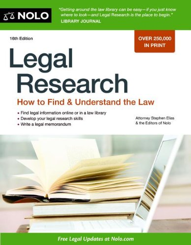 Legal Research How to Find and Understand the Law 16th 2012 edition cover