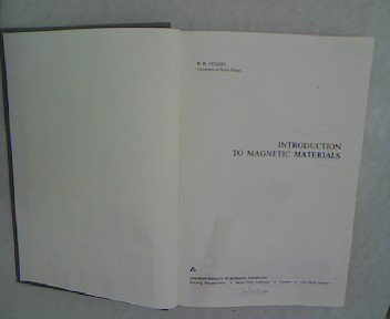 Intro Magnetic Materials 1st 1972 9780201012187 Front Cover