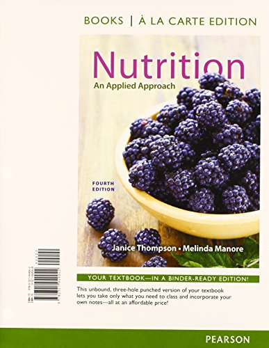 Nutrition An Applied Approach, Books a la Carte Plus MasteringNutrition with MyDietAnalysis with EText -- Access Card Package 4th 2015 edition cover