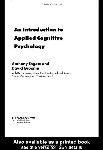Introduction to Applied Cognitive Psychology   2006 edition cover