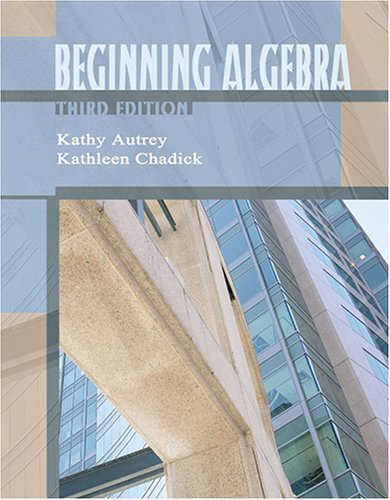 Beginning Algebra  3rd 2005 (Revised) 9780757521188 Front Cover
