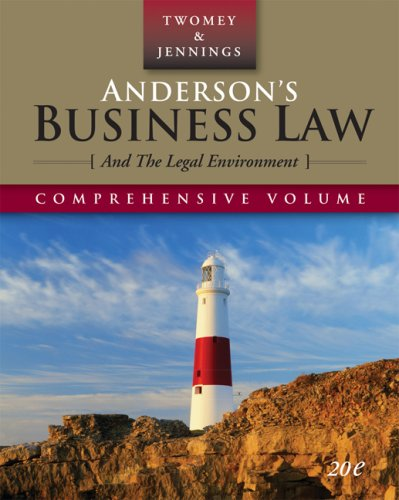 Anderson's Business Law and the Legal Environment  20th 2008 (Revised) edition cover