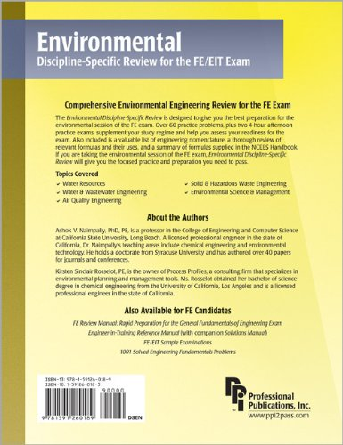 Environmental Discipline-Specific Review for the FE/EIT Exam   2006 edition cover