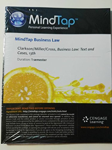 MindTap? Business Law with Digital Video Library Printed Access Card for Clarkson/Miller/Cross' Business Law: Text and Cases Text and Cases 13th 9781285774190 Front Cover
