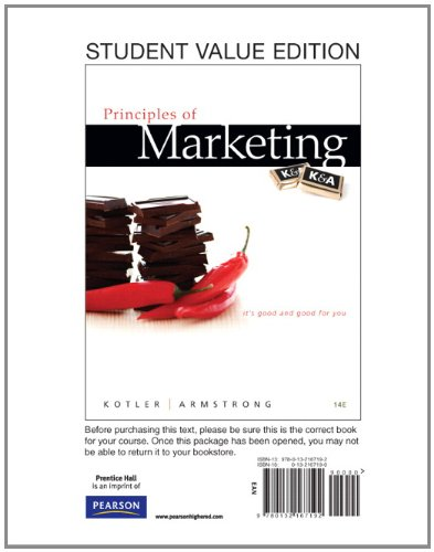 Principles of Marketing, Student Value Edition  14th 2012 edition cover
