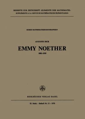 Emmy Noether   1970 9783764305192 Front Cover
