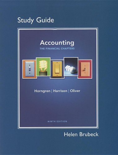 Study Guide for Accounting, Chapters 1-15 (Financial Chapters)  9th 2012 (Revised) edition cover