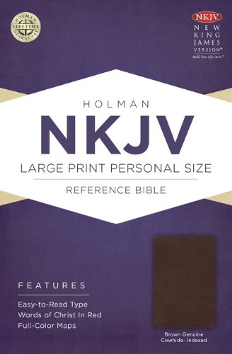 NKJV Large Print Personal Size Reference Bible, Brown Genuine Cowhide Indexed   2013 edition cover