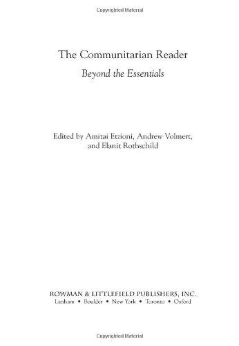 Communitarian Reader Beyond the Essentials  2004 edition cover