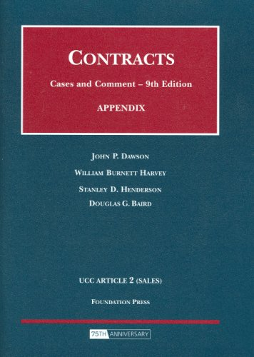 Appendix to Contracts Cases and Comments 9th 2008 (Revised) edition cover
