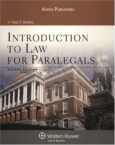 Introduction to Law for Paralegals, Second Edition  2nd 2008 (Revised) edition cover