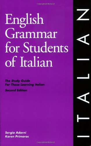 English Grammar for Students of Italian, 2nd Edition The Study Guide for Those Learning Italian 2nd 1995 edition cover