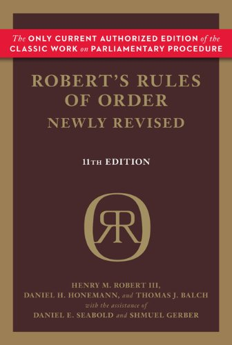 Robert's Rules of Order  11th (Revised) 9780306820205 Front Cover