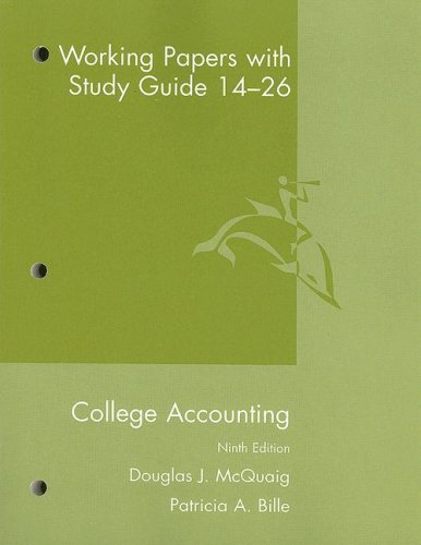 College Accounting Working Papers with Study Guide 14-26 9th Edition  9th 2008 9780618824205 Front Cover