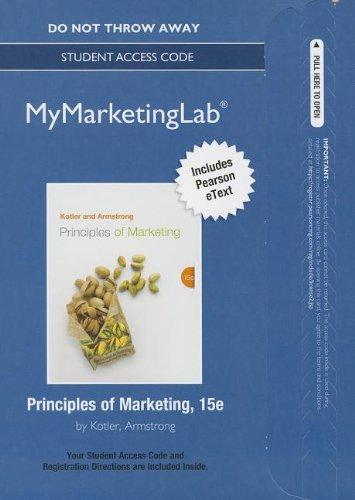 Principles of Marketing  15th 2014 9780133250206 Front Cover