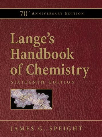 Lange's Handbook of Chemistry  16th 2005 (Revised) 9780071432207 Front Cover