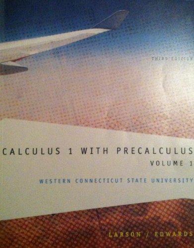 CALCULUS 1 W/PRECALC.:VOL.1 >CUSTOM<    N/A 9781285102207 Front Cover