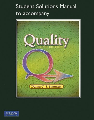 Student Solutions Manual for Quality  5th 2010 edition cover