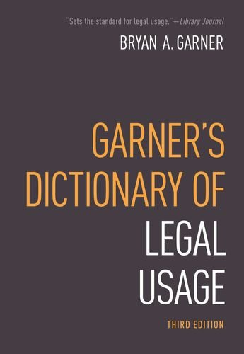 Garner's Dictionary of Legal Usage  3rd 2011 edition cover