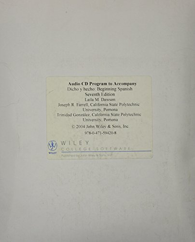 Dicho y hecho, Lab Audio CD : Beginning Spanish 7th 2004 (Revised) 9780471594208 Front Cover