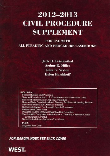 Civil Procedure Supplement for Use with All Pleading and Procedure Casebooks 2012-2013   2012 edition cover