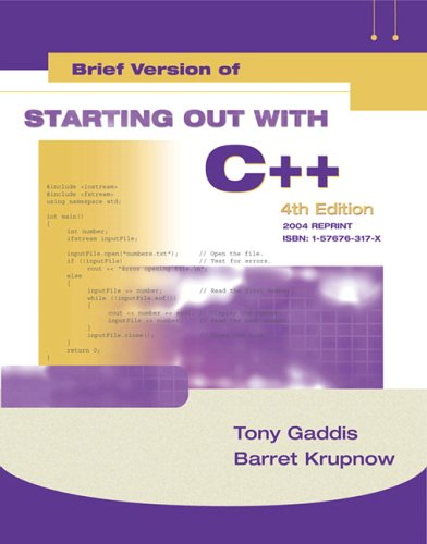 Starting Out with C++ From Control Structures to Objects 4th 2004 edition cover