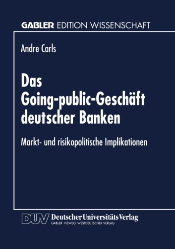 Going-Public-Gesch�ft Deutscher Banken   1996 9783824463213 Front Cover